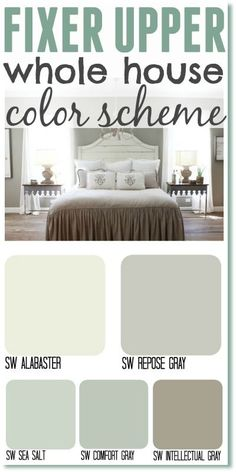 Fixer Upper whole house color scheme. Get the Fixer Upper look by using Joanna's most popular paint colors in your home.