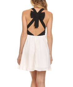 Look at this Ezra Black & White Bow-Back A-Lline Dress on #zulily today!