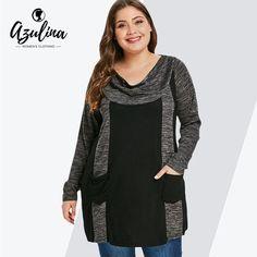 94e671d5c6663 AZULINA Plus Size Contrast T-Shirt Female Casual Cowl Neck Long Sleeve  Double Pocket T