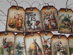 12 Primitive Vintage Easter Bunny Rabbit Hang Tags Gift Ties Ornies Party Favors #Handmade