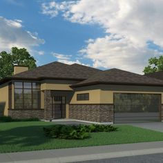 Contemporary (with Suite) - Robinson Plans Bungalow Homes, Bungalow House Plans, Bungalow House Design, House Front Design, Small House Design, Dream House Plans, Modern House Design, House Floor Plans, Contemporary House Plans