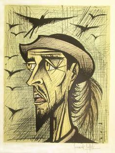 Lithograph - Bernard Buffet - Don Quixote with Hat