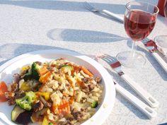 Koken op de camping: rösti, groente en gehakt. Snel en lekker!