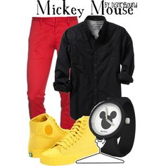 Mickey Mouse, created by lalakay on Polyvore- a girl version of this would look great too!