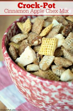 Crock-Pot Cinnamon Apple Chex Mix - Snack away on this fantastic recipe for Crock-Pot Cinnamon Apple Chex Mix. A slightly sweet treat that is just SO snackable! Trail Mix Recipes, Snack Mix Recipes, Snack Mixes, Fall Trail Mix Recipe, Cooking Recipes, Fruit Recipes, Crockpot Recipes, Vegetarian Recipes, Gluten Free Chex Mix