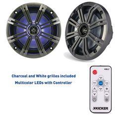 """Kicker 6.5"""""""" Inch KM-Series Marine Speaker Bundle 41KM654LCW with 41KMLC LED Remote"""