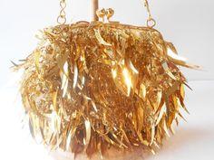Gold Evening Bag Farfalla London Purse Gold by LittleBitsofGlamour