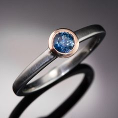 Mixed Metal Blue Round Montana Sapphire by NodeformWeddings
