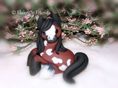 polymer clay pony / ponies / horse / bay paint / pinto by Flakey 'n Friends