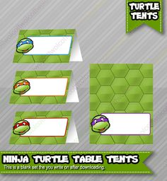 Ninja Turtles Birthday Food Table Tents Cards Blank - INSTANT DOWNLOAD  - TMNT Birthday Party Printable Food Tents by WolcottDesigns on Etsy