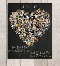 Personalized Anniversary Gift, Heart Photo collage, Anniversary gift for husband, Anniversary gift for wife, Mother's Day Gift - Valentine's Day Gift – Romantic Gift – Personalized Gift – Anniversary Gift for Her – Gif - Personalized Anniversary Gifts, Anniversary Gifts For Husband, Personalized Wedding, Wedding Anniversary, Valentines Day Gifts For Him, Be My Valentine, Valentine Ideas, Cute Gifts, Diy Gifts