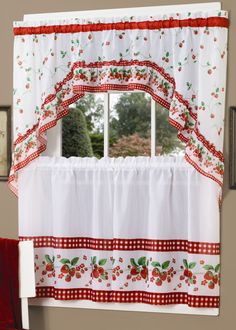 Strawberry Vine Is A Gorgeous Fruit Theme Tier Swag Set Pattern Includes Kitchencherry Kitchenkitchen Curtainskitchen
