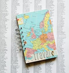 Simple Custom Travel Journal - Vintage Map New and Found Pages Travel Books, Travel Journals, Travel Stuff, Notebook Labels, Chicago Map, Memory Crafts, Map Globe, Vintage Office, Idee Diy