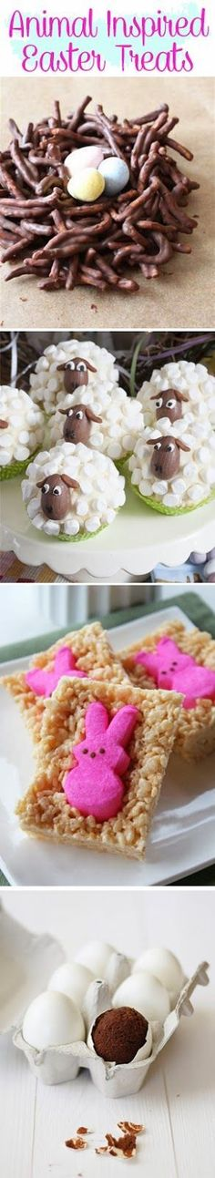 Animal Inspired Easter Treats using peeps, chocolate eggs and marshmallows - cute kids craft edible gifts for Easter and spring themed afternoon tea dessert tables
