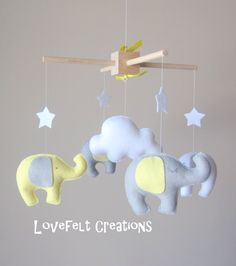 READY MOBILE Elephant Mobile Baby Mobile by LoveFeltXoXo