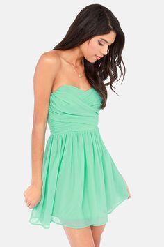 LULUS Exclusive Sash Flow Strapless Mint Green Dress at LuLus.com!