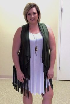 Faux Suede Fringe Vest in Black or Olive. Perfect Plus Size Fall/Winter Layering Piece