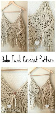 I love this fun, funky, fring-y Boho Tank Top Crochet Pattern! It's super cute layered with long necklaces over a sundress. You could even use cotton yarn and wear it over a bathing suit. It has a button closure on the back and I actually wore it backwards as a vest the other da