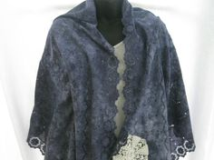 Dark blue cotton eyelet hand dyed shawl, repurposed vintage wrap, boho, romantic scarf, summer blue shawl, up-cycled, trendy lace wrap by thelavenderpear on Etsy