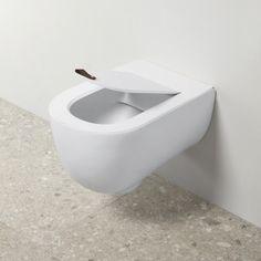 Elegant Living Scopino per WC con porta scopino in ceramica colore: bianco .. Black Lines prodotto di lusso