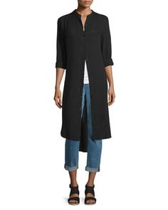 Mandarin-Collar+Calf-Length+Shirt+&+Stretch+Boyfriend+Jeans+by+Eileen+Fisher+at+Neiman+Marcus.