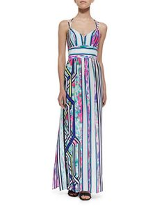 Cloud-Print Halter Maxi Dress by Amanda Uprichard at Neiman Marcus.