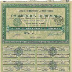 Palmeraies Africaines Soc. Comm. & Industrielle - #scripomarket #scriposigns #scripofilia #scripophily #finanza #finance #collezionismo #collectibles #arte #art #scripoart #scripoarte #borsa #stock #azioni #bonds #obbligazioni