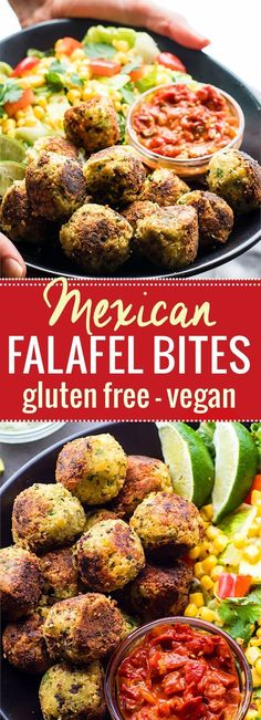 Healthy Mexican Vegan Falafel Bites! These Vegan Falafel bites are super easy to make with just a can of chickpeas, spices, veggies, jalapeño, and gluten free flour. No eggs needed. Great for a quick