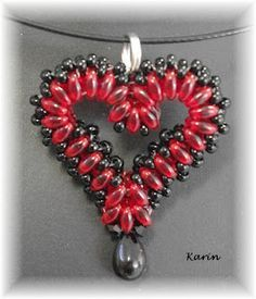 Beaded Heart pendant red Karin
