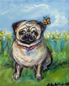 Pug love butterfly original painting by Angie Ketelhut on Etsy~$85