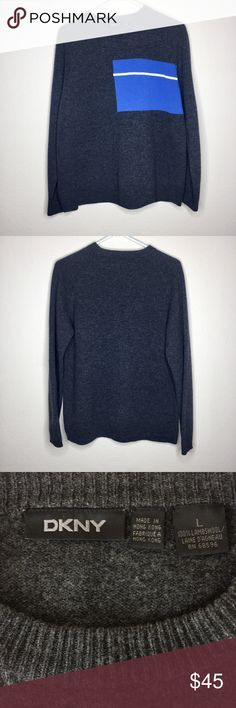 4516e83f401622 Vintage DKNY Mens Sweater 100% Lambs Wool Long Sleeve Crewneck Sweater Dark  grey with blue