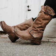Garish Women Vintage Pure Color Buckle Decor Motorcycle Boots Snow Boots Classic Zipper Low Heel Western Combat Boots