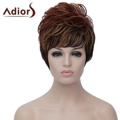 10.81$  Watch here - http://di3s5.justgood.pw/go.php?t=175745701 - Fluffy Wave Synthetic Dynamic Side Bang Brown Black Mixed Capless Short Wig For Women