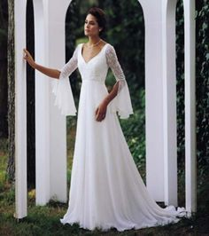 A-line Chiffon Medieval Bridal Gown/Wedding Dresses NWT// neckline? Yes. Chiffon? Yes. Sleeves? YES.