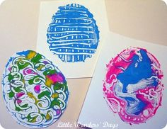 Print making Easter eggs using an oil cloth