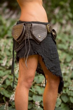 Leaf 4 Pockets Belt (Dark Brown) - Fanny Pack Hip Bag Goa Bohemian Hippie Gypsy Festival Adjustable Psytrance Tribal Boho Utility
