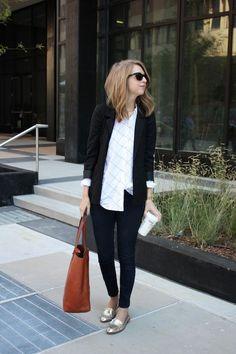 blazer, skinnies, metallic loafers!