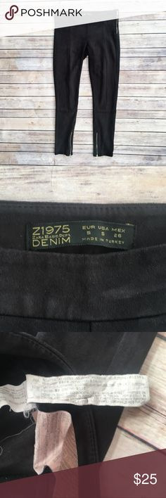 """Zara faux suede skinny ankle pants Super soft black faux suede skinny ankle pants, size small from Zara. Side zipper closure, zippered ankles. Excellent condition. Flat measurements are waist 15.5"""", hips 16.5"""", front rise 7.5"""", inseam 27"""", length 33"""". Zara Pants Skinny"""
