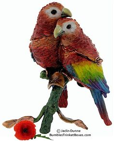 Trinket Boxes- Two Red and Yellow Parrots