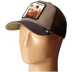 Goorin Brothers Animal Farm Grizz (Olive) Caps ($30) ❤ liked on Polyvore featuring accessories, hats, trucker hats, truck caps, goorin, animal cap and cap hats
