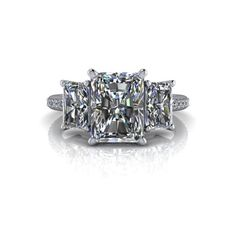 Pia Three Stone Engagement Ring Russian Brilliants Radiant Cut - Bel Viaggio Designs - 2