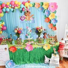 """I'm """"squealing"""" with joy and excitement to share my Moana Birthday celebration event for Bianelys! Moans Birthday Party, Moana Theme Birthday, Moana Themed Party, 2nd Birthday Party Themes, Moana Party, Birthday Celebration, Cake Birthday, Balloon Garland, Balloon Decorations"""