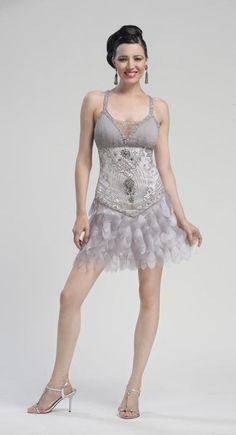 Sue Wong Dress N3168 - Platinum Beaded and Feather Drop Waist Flapper Dress
