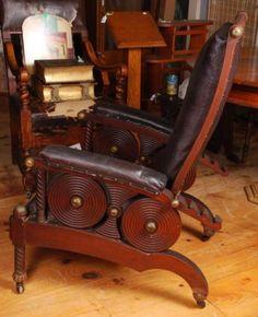 19th C Unusual Reclining Oak Morris Chair Lot 1