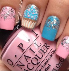 Cupcakes. Want something like this done to my nails sometime!!!!!