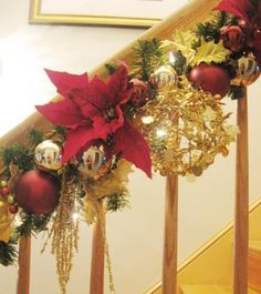 Red and Gold garland I did for a client who wanted NO glitter just glam - AMG Design Studio