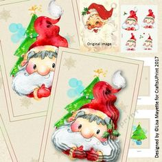 Vintage Style Santa Decoupage Pyramage Card Making Mini Kit - This 5x7 card features an adorable watercolor rendition of Santa Claus and a Christmas Tree on a tan background with snowflakes and bubbles in bright, cheerful colors.  Art by Hafapea & Star Jam for Kids #CardMakingKits #CraftsUPrint #LisaMayette #Hafapea