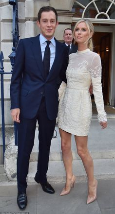 James, 30, a member of one of world's richest dynasties, posed alongside his socialite fiancee at their pre-wedding party