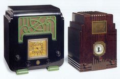 Art Deco radios.  Black and green Fisk Radiolette. Australian, c. 1936. Right: Harold Van Doren and John Gordon Rideout, Air-King radio.  American, c. 1934.
