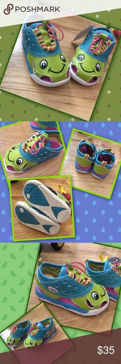 Turtle 🐢 Toes see closet SALE!! Turtle fun for your little one. Adjustable web lace for an easy and quick fit. Paw flex rubber sole for adds four-way flexibility for little steps! Toggle closure, leather man-made upper, textile lining, and adorbs! HP Shoes